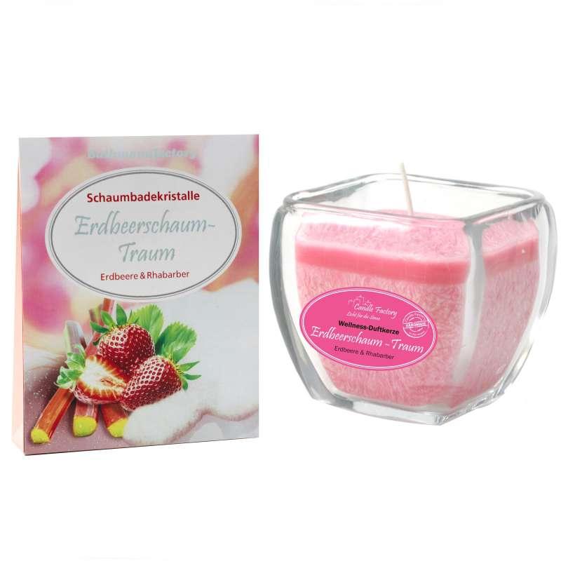 Candle Factory Wellness-Set Erdbeerschaum-Traum Aromabadekristalle + Wellnesskerze
