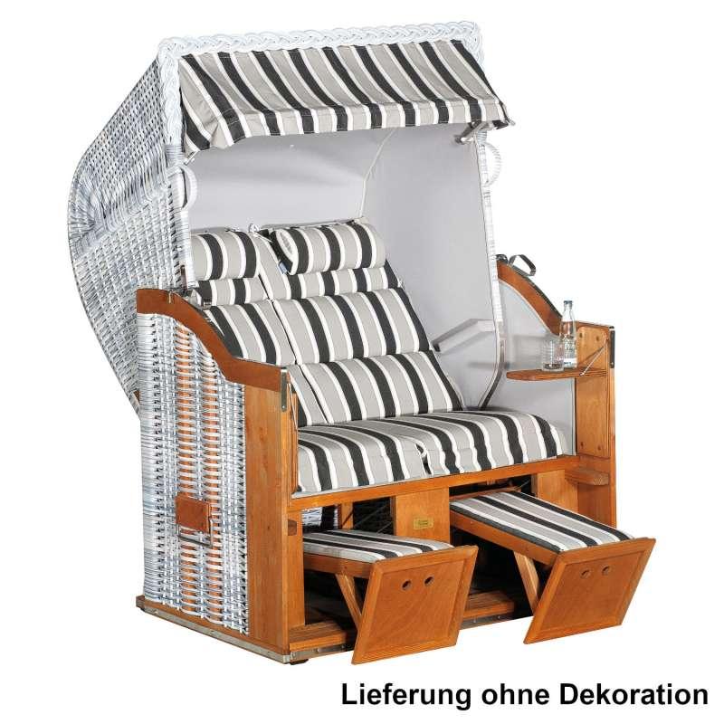 Sonnenpartner Strandkorb Classic Duo-Style 2-Sitzer Halbliegemodell weiß/grau mit Sonderausstattung
