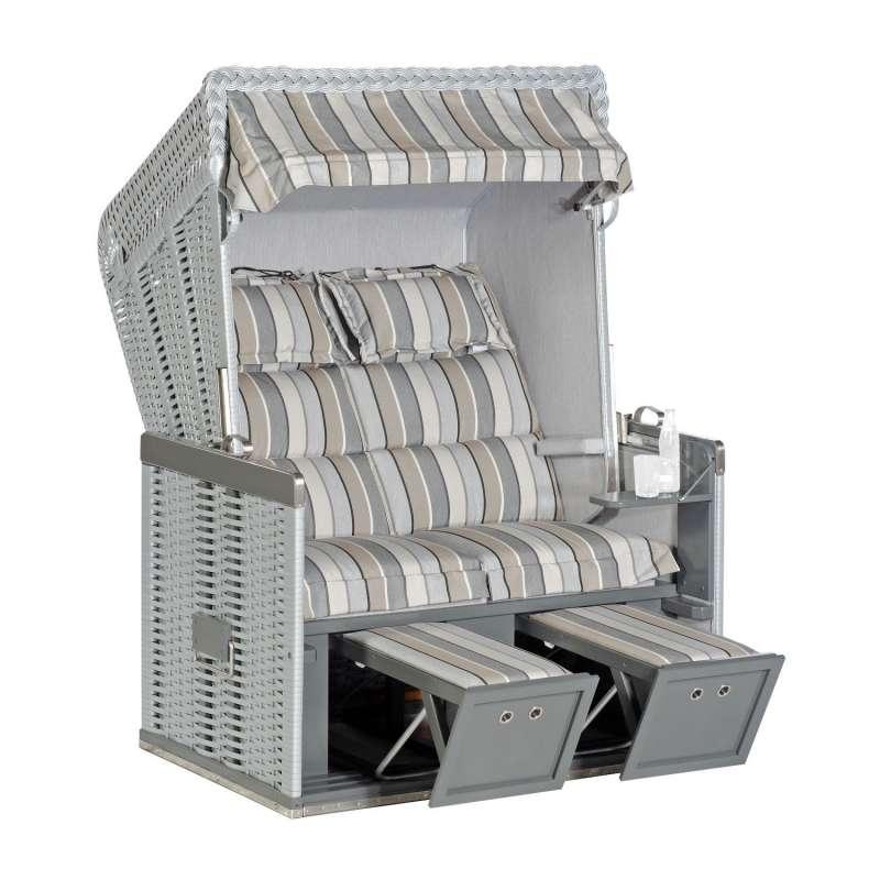 Sonnenpartner Strandkorb Konsul Duo-Style 2-Sitzer Halbliegemodell silber/tessera mit Sonderausstatt