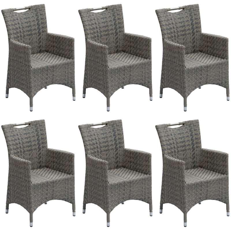 Inko 6er-Set Sessel Kent Aluminium/Geflecht grau Gartenstuhl 59x57x89 cm Polyrattan