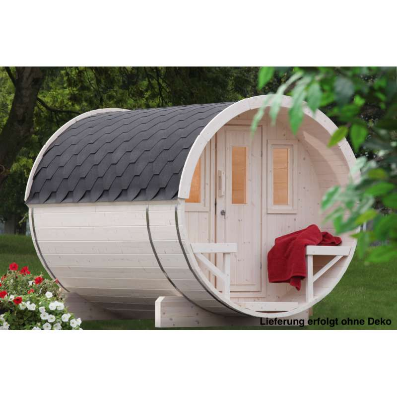 WOLFF FINNHAUS Saunafass 280 Fichte 42 mm naturbelassen Gartensauna Außensauna