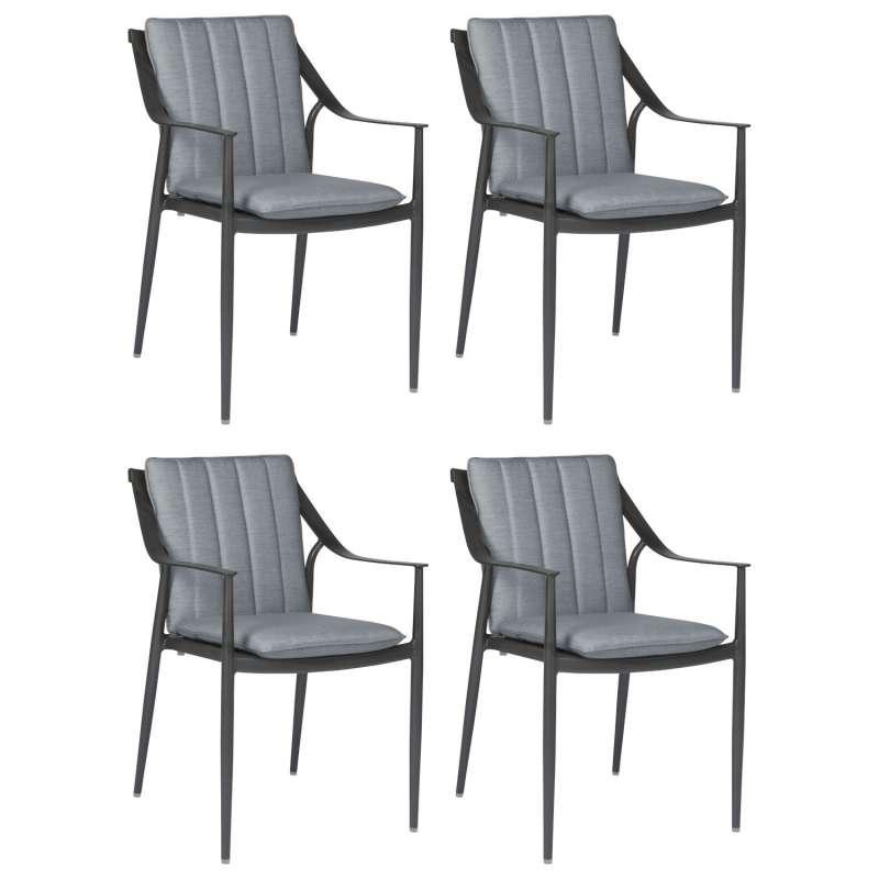 Stern 4er-Set Dining-Sessel Vanda Aluminium anthrazit/Outdoorstoff seidengrau Gartenstuhl