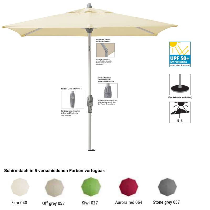 Sonnenschirm SUNCOMFORT® by Glatz Shell Turn 250 x 200 cm in 5 Farbvarianten Mittelmast
