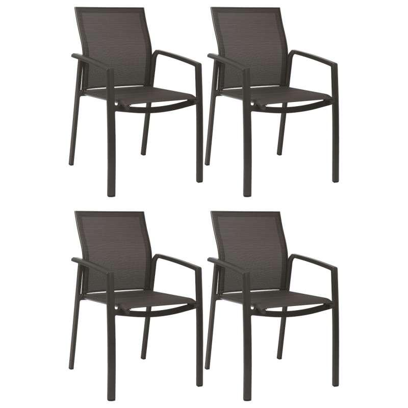 Stern 4er-Set Stapelsessel Kari Aluminium anthrazit/Textilen karbon Gartenstuhl Stapelstuhl
