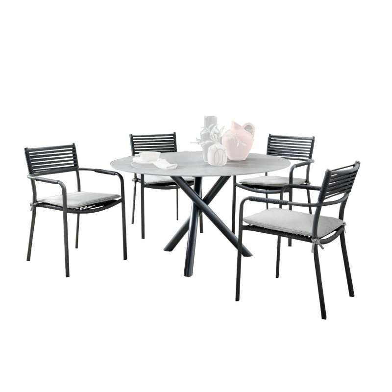 SIT Mobilia 5-teilige Sitzgruppe Tubo & Arica Edelstahl eisengrau/Aluminium Tisch Ø 120 cm mit 4 Stü
