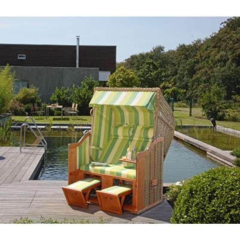 Sonnenpartner Strandkorb Classic 2 Sitzer Halbliegemodell seegras grün
