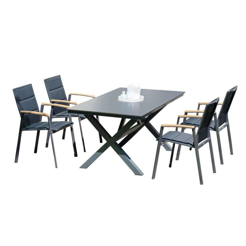 Sonnenpartner 5-teilige Sitzgruppe Sierra & Base-Spectra 160x90 cm mit 4 Stapelstühlen Aluminium ant
