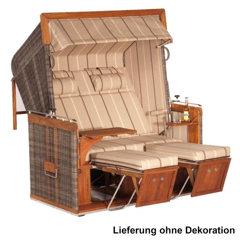 Sonnenpartner Strandkorb Präsident Teak 2-Sitzer XL Liegemodell cappuccino/beige mit Sonderausstattu