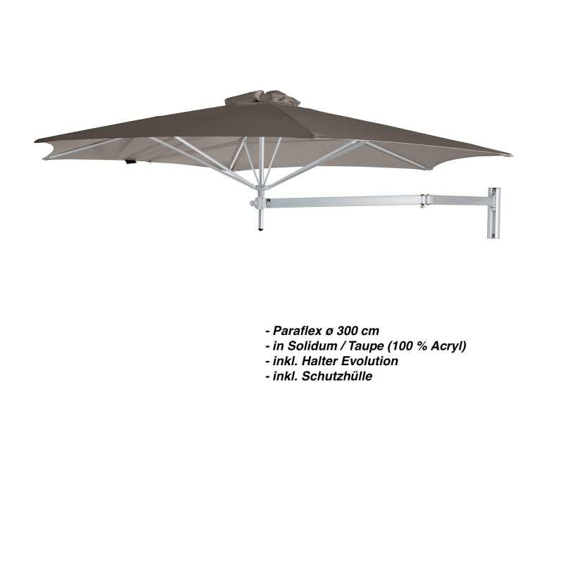 Umbrosa Paraflex ø 300 cm Sonnenschirm Wandschirm SET Solidum Taupe inkl. Halterung