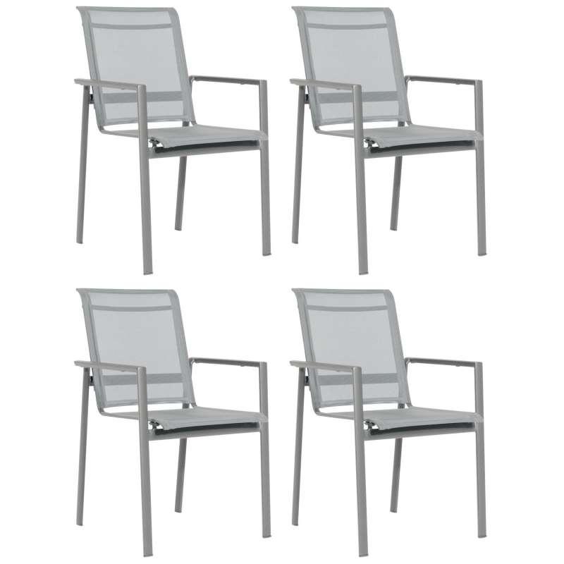 Sonnenpartner 4er-Set Stapelstühle Esprit Aluminium mit Textilen anthrazit Stapel-Sessel Stapelstuhl