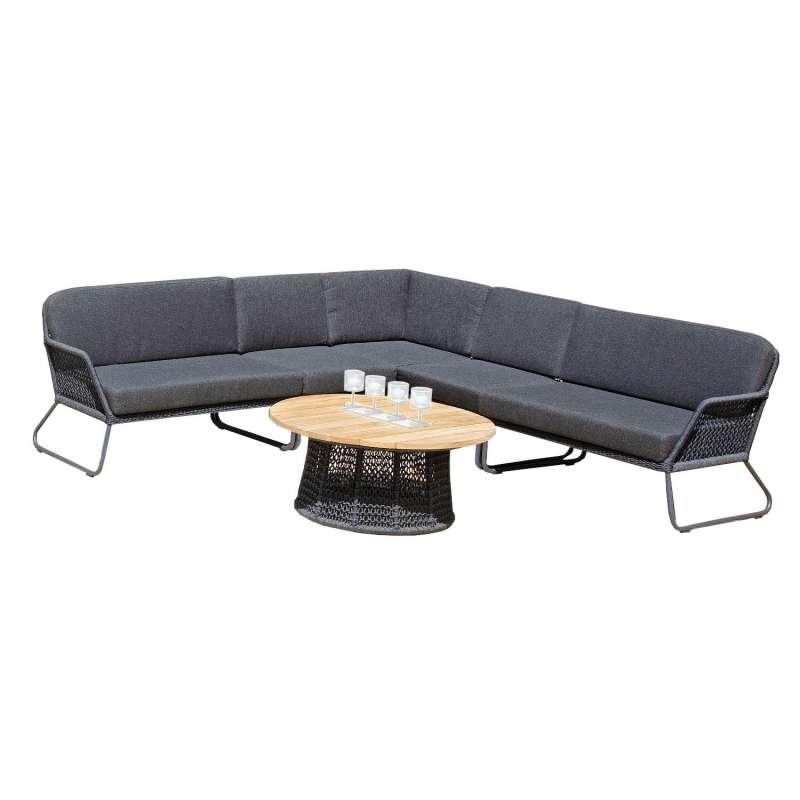 Sonnenpartner 6-teilige Lounge-Sitzgruppe Poison mit Tisch Aluminium mit Teakholz/Polyrope dunkelgra