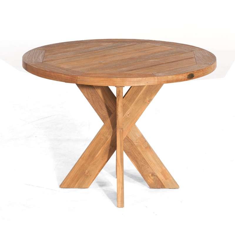 Sonnenpartner Gartentisch Quantum rund Ø 120 cm Teakholz Old Teak Tisch Esstisch