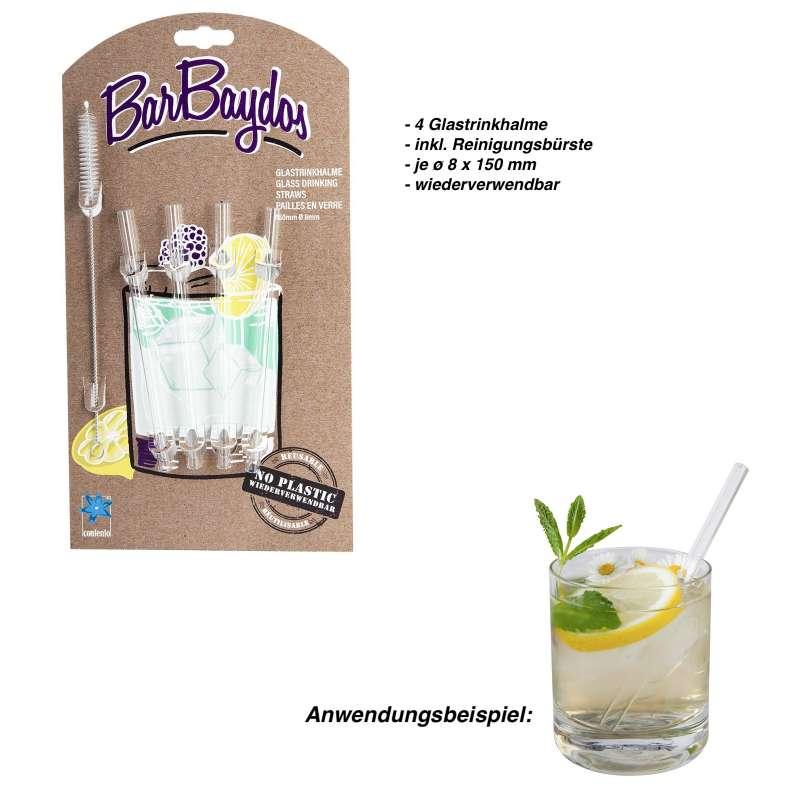 Contento Glastrinkhalm 4 Stk SET Barbaydos Glas Getränkehalm wiederverwendbar Strohhalm