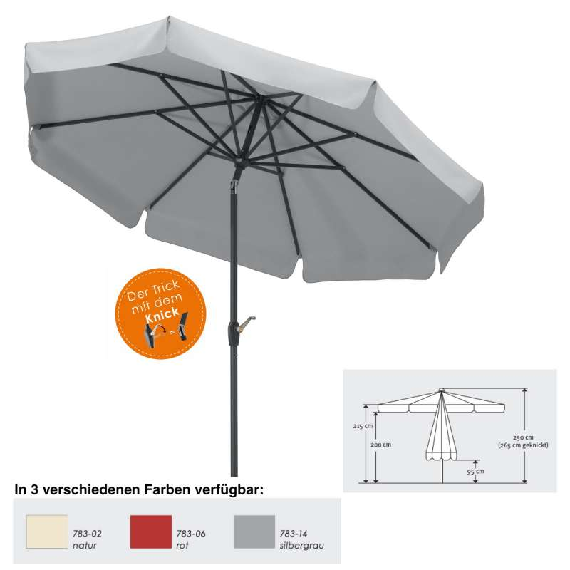 Schneider Schirme Orlando Mittelmastschirm ø 270 cm Balkonschirm 3 Farben Mittelstockschirm