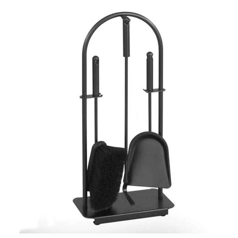 Heibi Kaminbesteck aus Stahl 4-teilig schwarz glimmer modern 25x15x57 cm