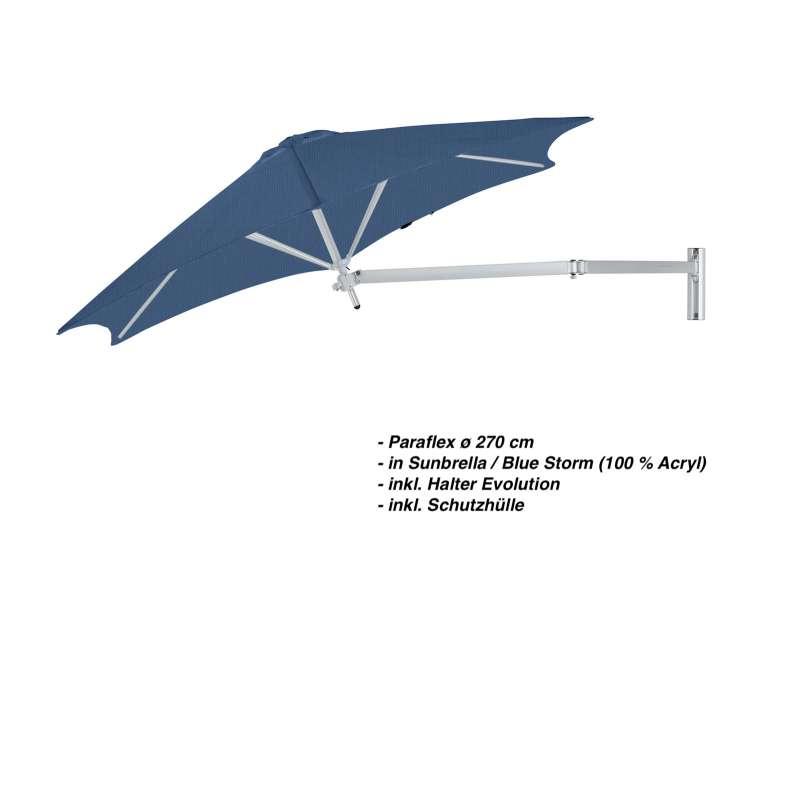 Umbrosa Paraflex ø 270 cm Sonnenschirm Komplettset inkl. Halterung Blue Storm Wandschirm