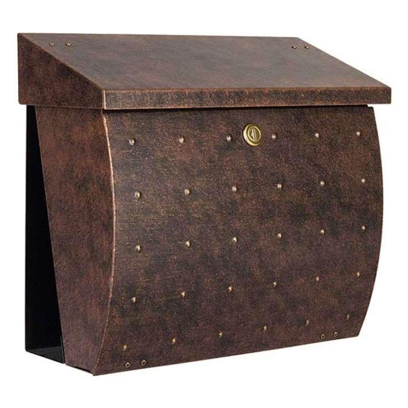 Heibi Briefkasten KROSIX Edelstahl pulverbeschichtet braun-gold DIN C4 quer
