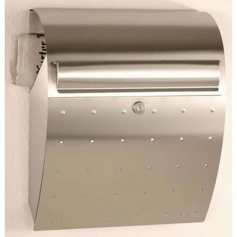 Heibi Briefkasten mit Zeitungsfach Edelstahl 37,5x16x44 cm DIN C4 quer