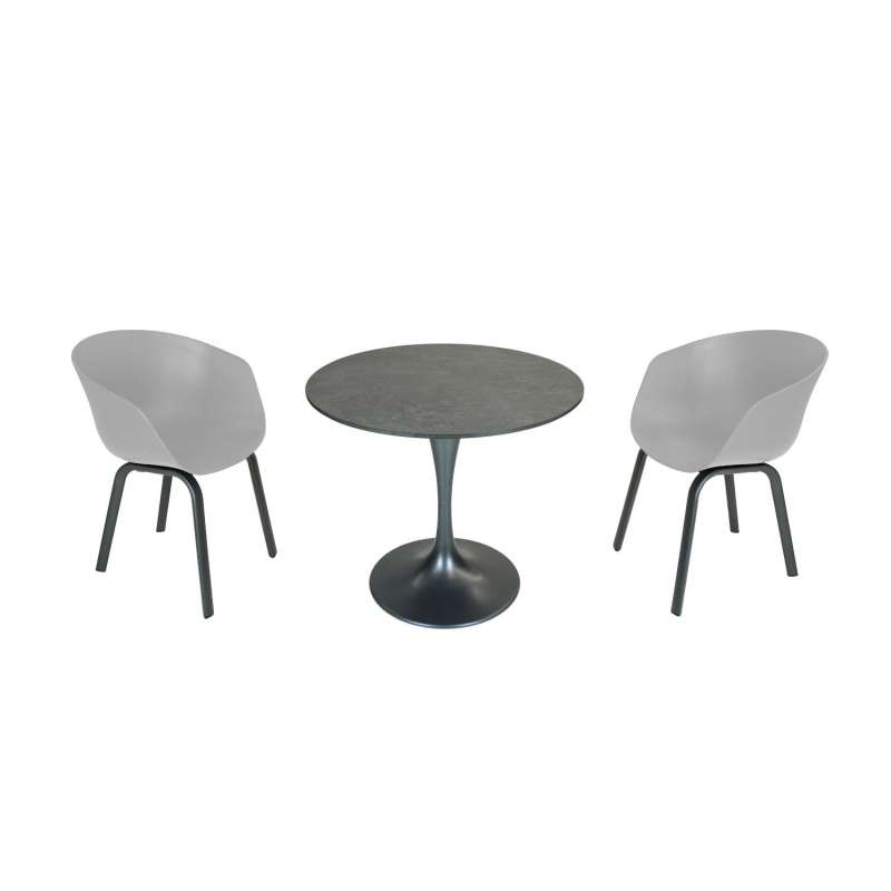 SIT Mobilia 3-teilige Sitzgruppe Trompeta rund & Boca Aluminium eisengrau/grau Tisch Ø 80 cm mit 2 S