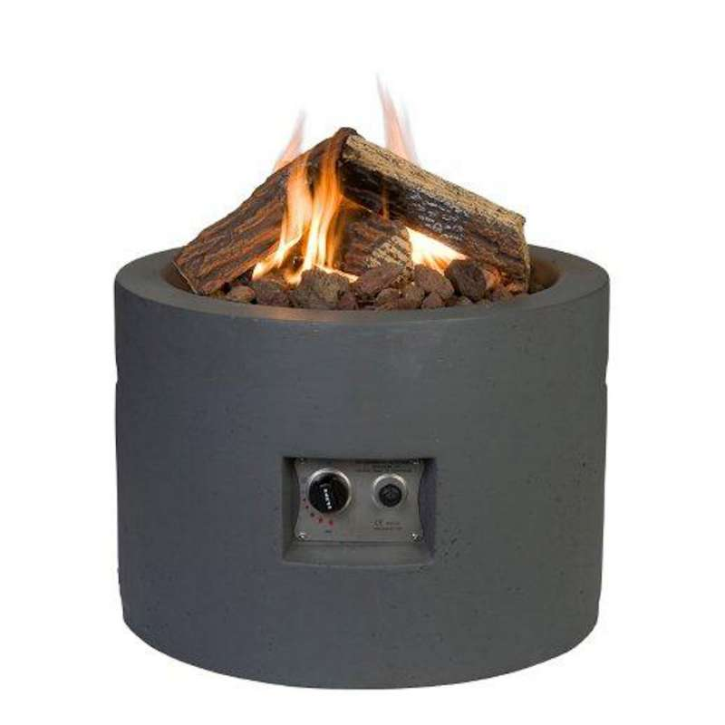 Happy Cocooning Mania Feuertisch 19,5 kW rund 61x61x42 cm Beton-Optik grau