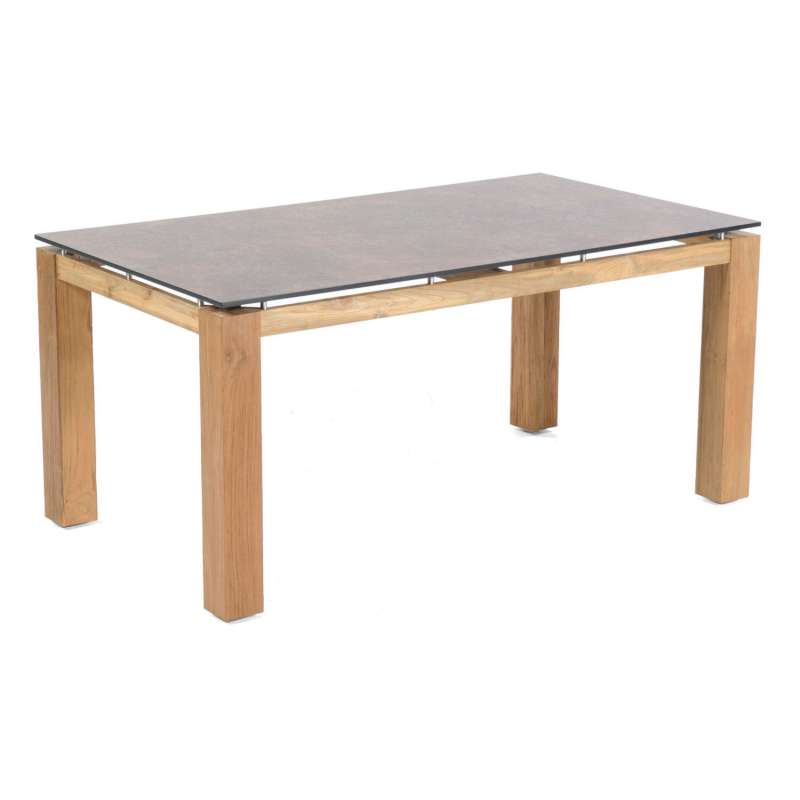 Sonnenpartner Gartentisch Base 160x90 cm Teakholz Old Teak Tischsystem mit wählbarer Tischplatte HPL