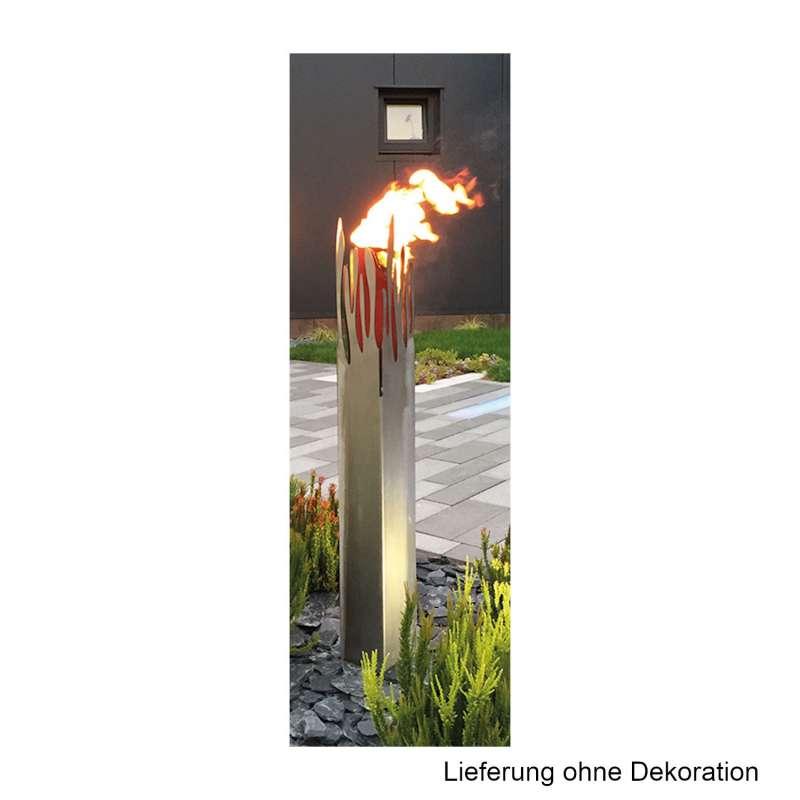 Mecondo LOMOS Feuerfackel 12,4x12,4x100 cm Gartenfackel Cortenstahl/Edelstahl