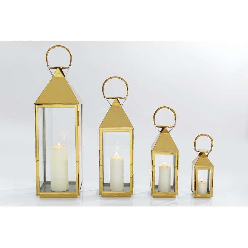 KARE Design Laterne Giardino Gold Edelstahl lackiert (4er Set) Bodenlaterne Dekolaterne 51845
