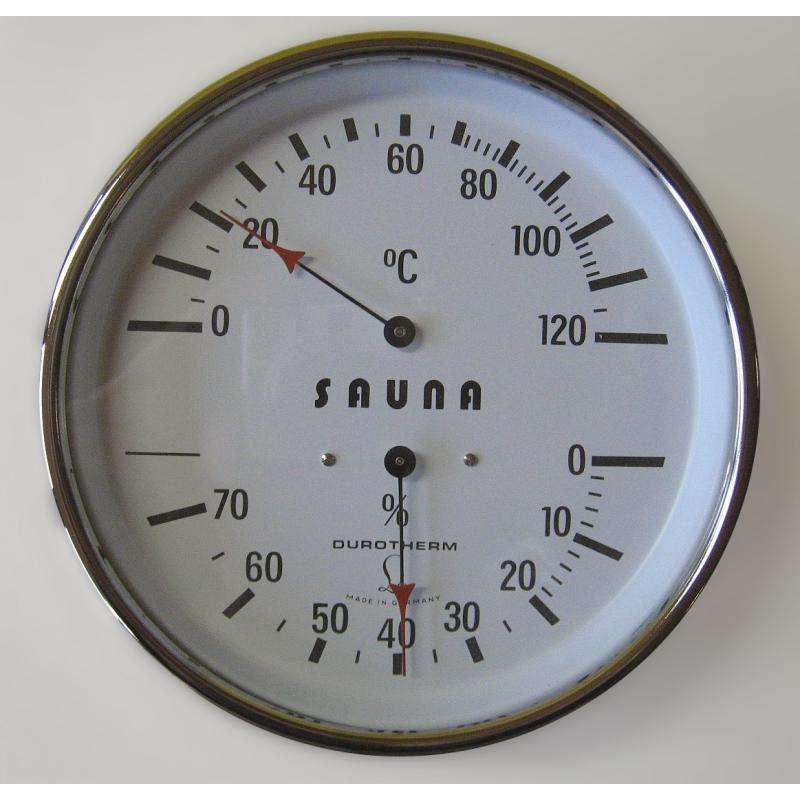 Arend Sauna Thermo-Hygrometer Deluxe mit verchromten Gehäuse für Saunakabine