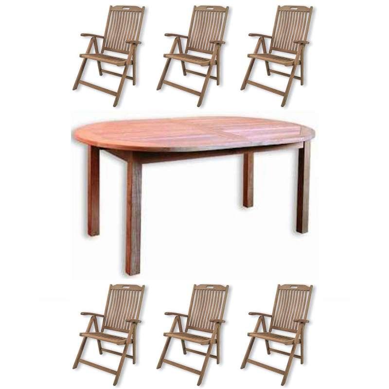 Inko 7-teilige Teakholz-Sitzgruppe Timor & Bangkok oval 200/260x110x75 cm Tisch ausziehbar Holztisch