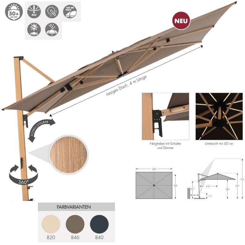 Doppler Alu Wood XL 400 x 300 cm Pendelschirm Holzoptik Ampelschirm 3 Farben 449263