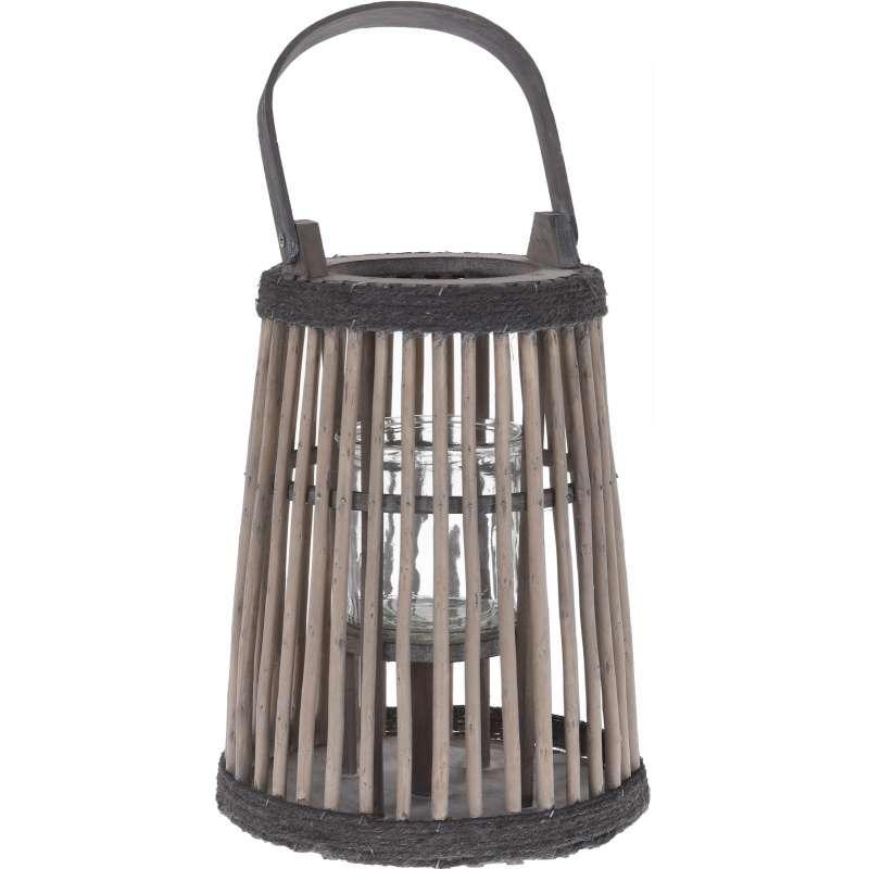 Laterne Dekolaterne 22 x 27 cm Gartenlaterne Beleuchtung Deko Holzlaterne Windlicht