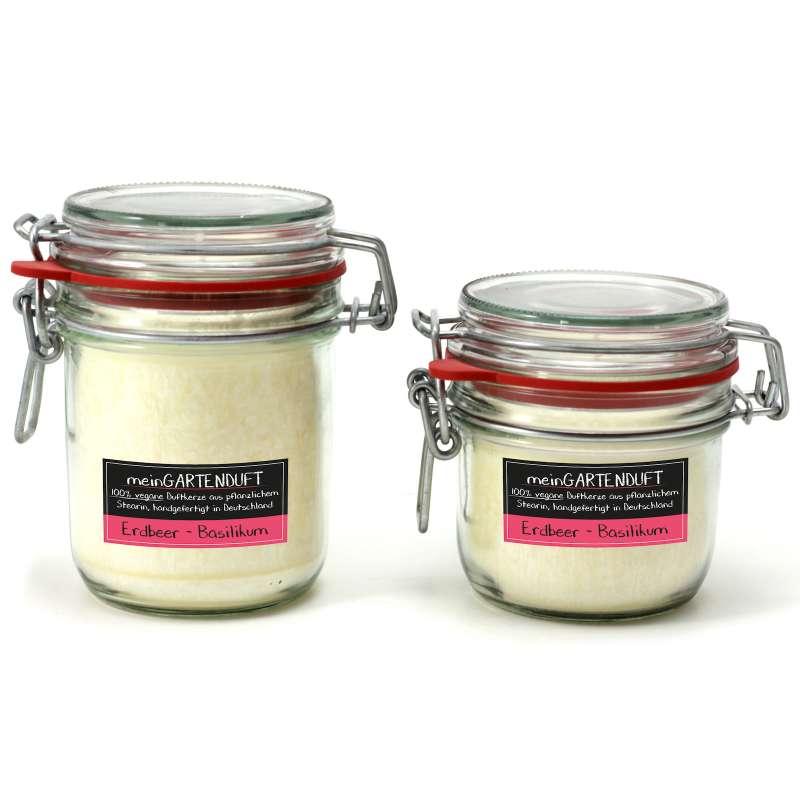 Candle Factory meinGartenduft Kerzenset Erdbeer-Basilikum Drahtbügelglas