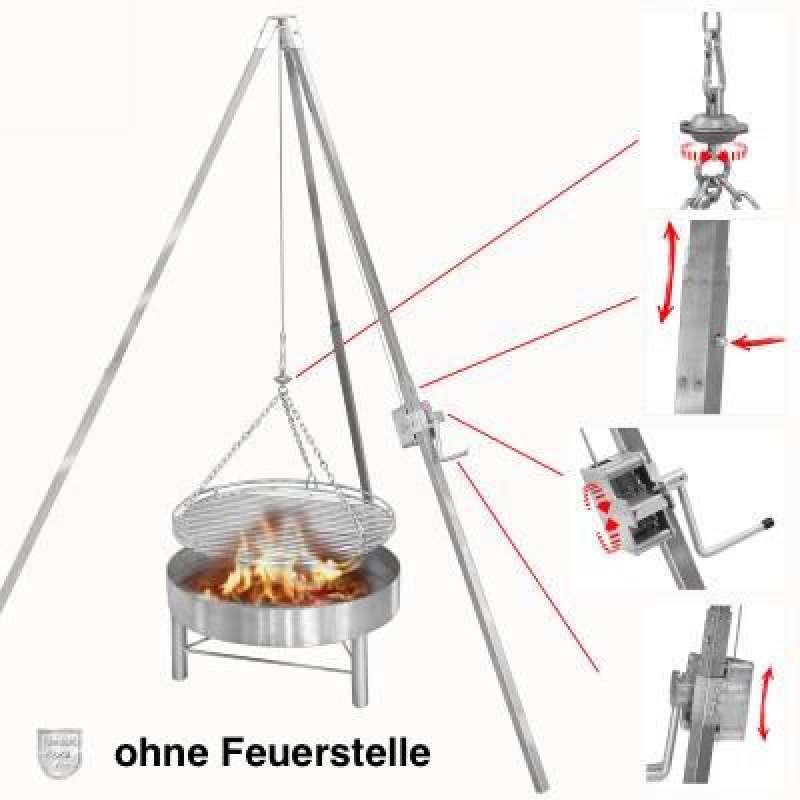 Schneider Edelstahl Dreibeingrill Schwenkgrill Höhe 250 cm mit Rost Ø 100 cm