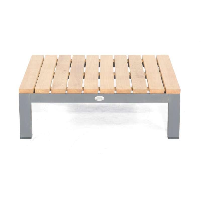 Sonnenpartner Loungetisch Equila Aluminium anthrazit/Teakholz natur 85x85 cm Lounge-Tisch