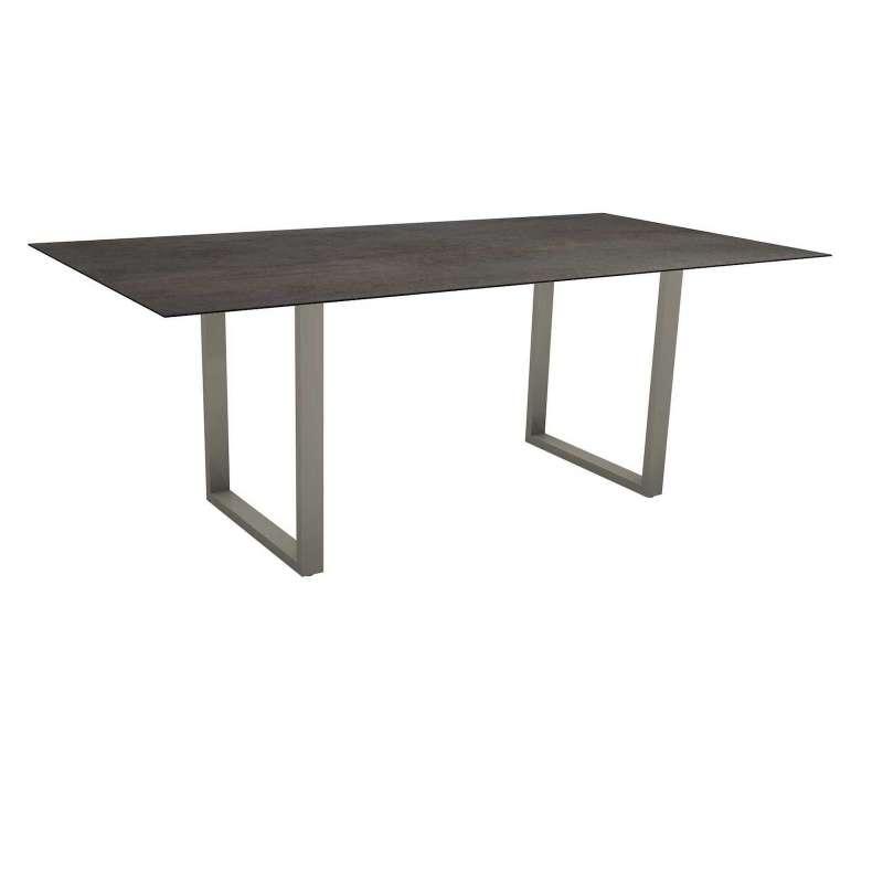 Stern Kufentisch 200x100 cm Aluminium graphit/Silverstar 2.0 Nitro Gartentisch Tisch