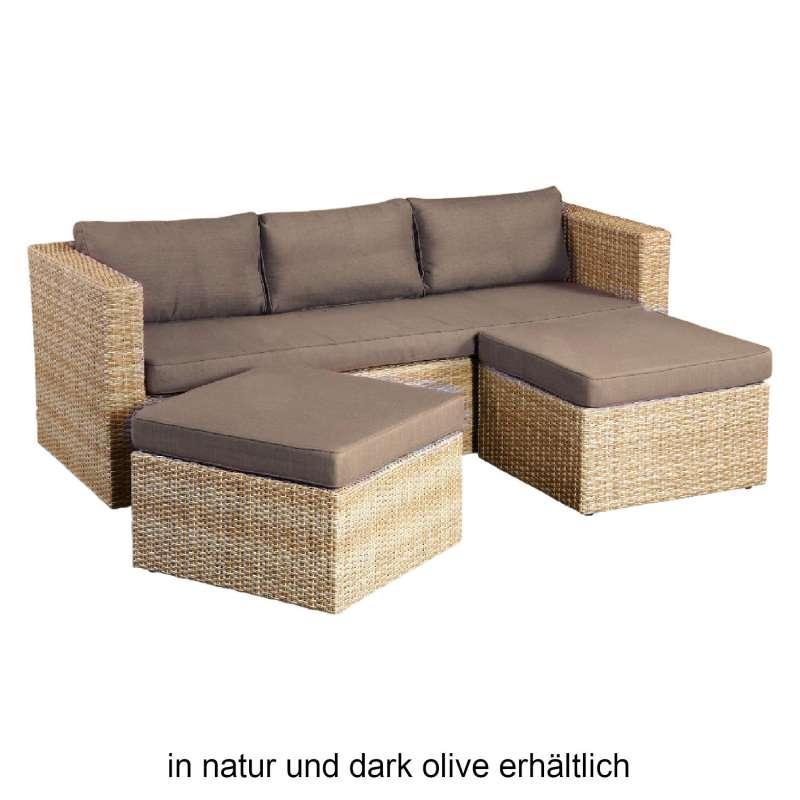 Inko 3-teilige Lounge-Sitzgruppe Mito Rattanoptik mit 2 Hockern dark olive/natur Loungegruppe
