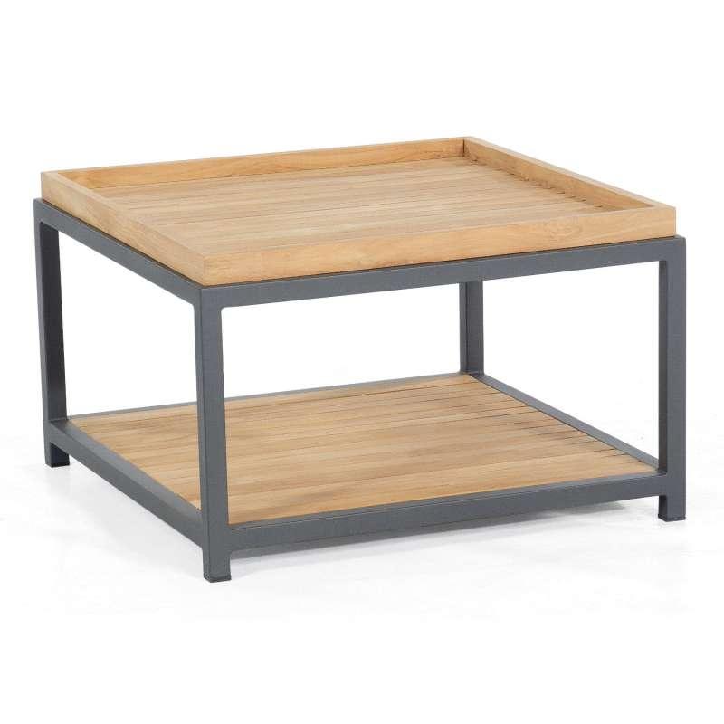 Sonnenpartner Loungetisch Square 72x72 cm Aluminium mit Teakholz Beistelltisch Tisch