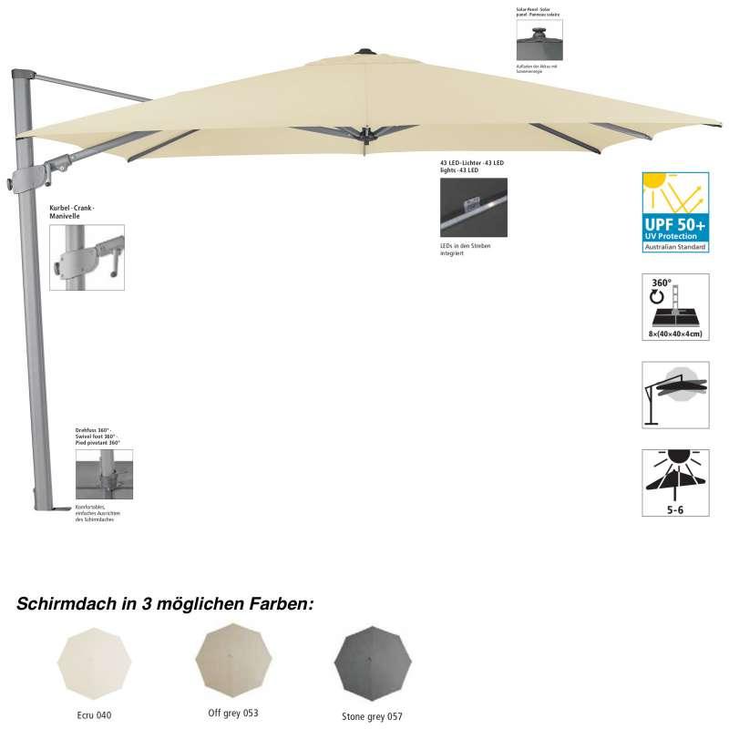 GLATZ Sonnenschirm SUNCOMFORT® Varioflex Solar 300 x 300 cm 3 Farbvarianten