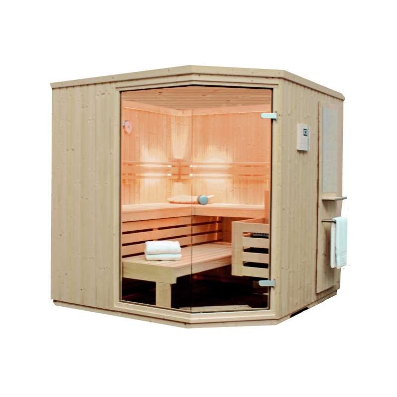 Arend Maata Komfort - 45° Elementsauna mit Eckeinstieg 208 x 208 / 205 cm