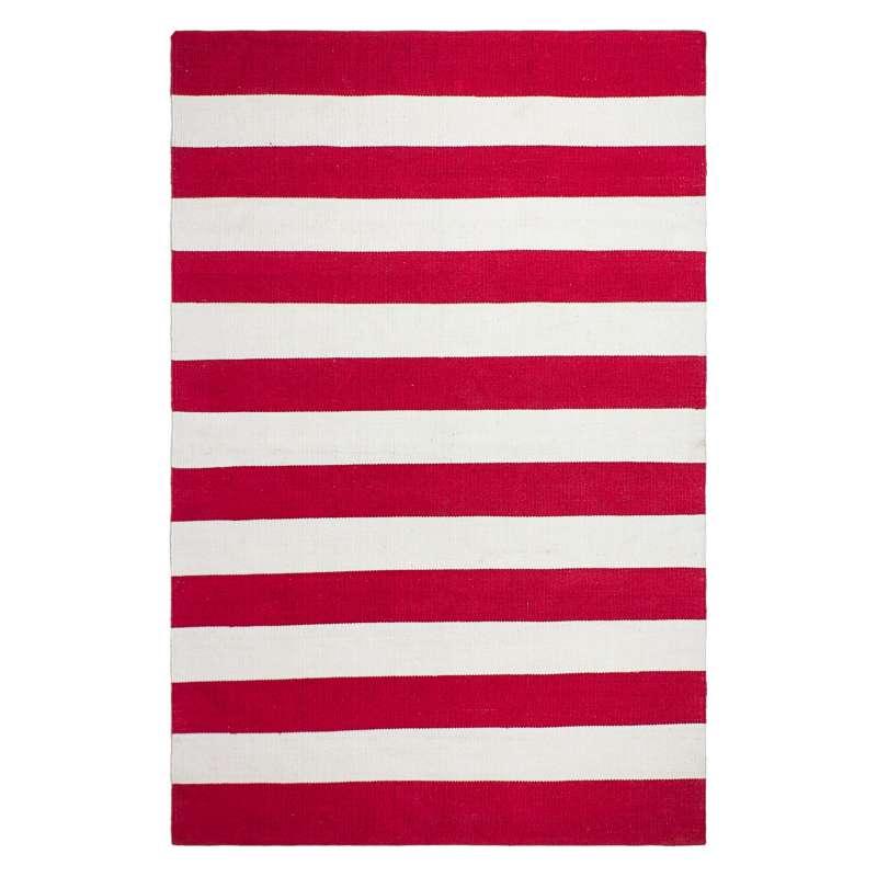 Fab Hab Outdoorteppich Nantucket Red/White aus recycelten PET-Flaschen rot/weiß 90x150 cm