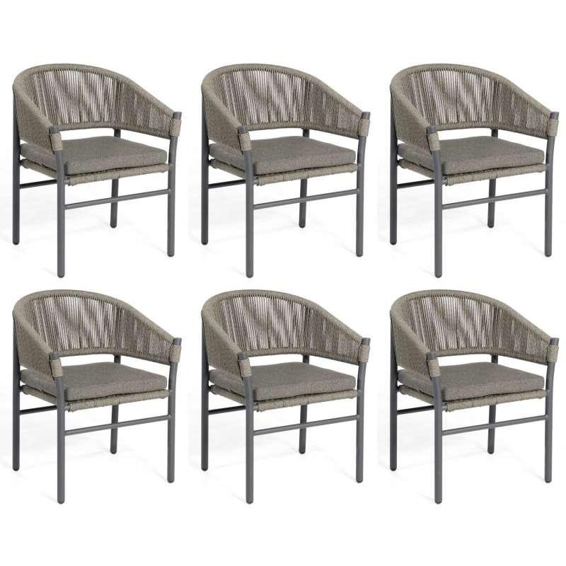 Sonnenpartner 6er-Set Gartensessel Mystique Aluminium mit Polyrope dunkelgrau Gartenstuhl Sessel
