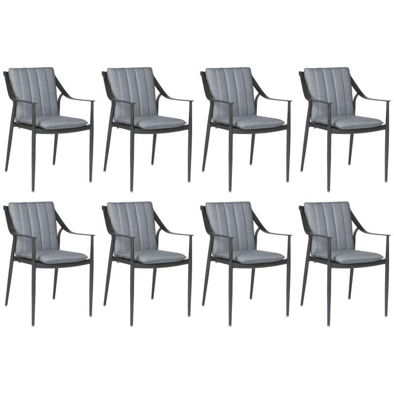 Stern 8er-Set Dining-Sessel Vanda Aluminium anthrazit/Outdoorstoff seidengrau Gartenstuhl
