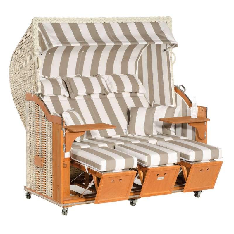 Sonnenpartner Strandkorb Classic 3-Sitzer Halbliegemodell antikweiß/grau mit Sonderausstattung