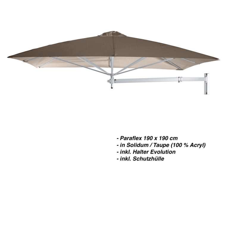 Umbrosa Paraflex 190 x 190 cm Sonnenschirm Solidum Taupe SET Wandschirm inkl. Halterung