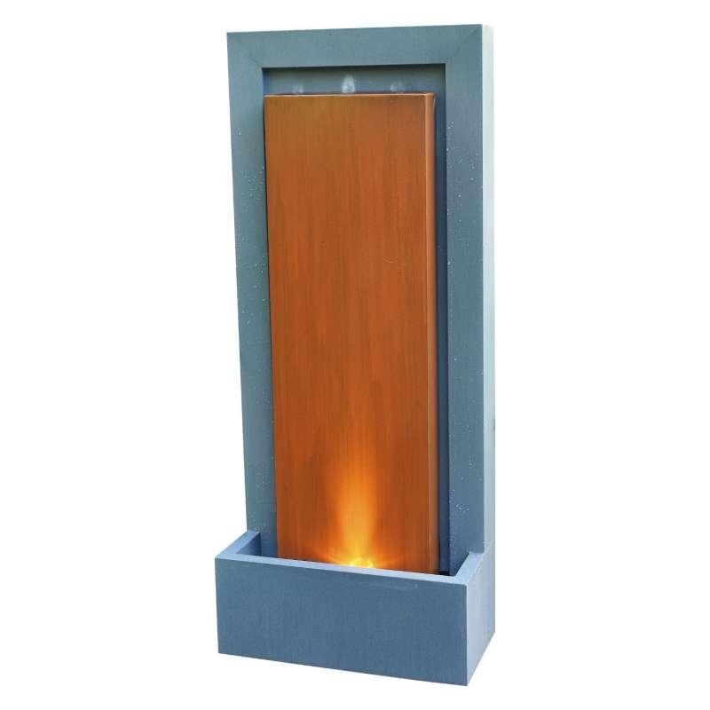 Granimex Paret Zink Wasserwand Pumpe LED-Beleuchtung Wasserspiel 120x50x25 cm
