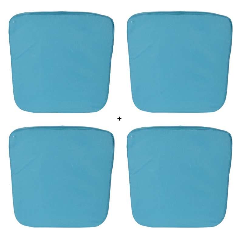 Sitzkissen Outdoor 4er Set Stuhlkissen für Innen und Außen ca. 46x46x4,5cm blau