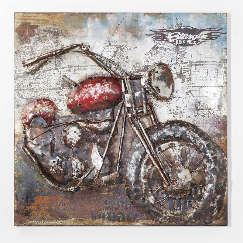 Kare Design Bild Iron Motorbike 100 x 100 cm gebürsteter Stahl handbemalt 38594