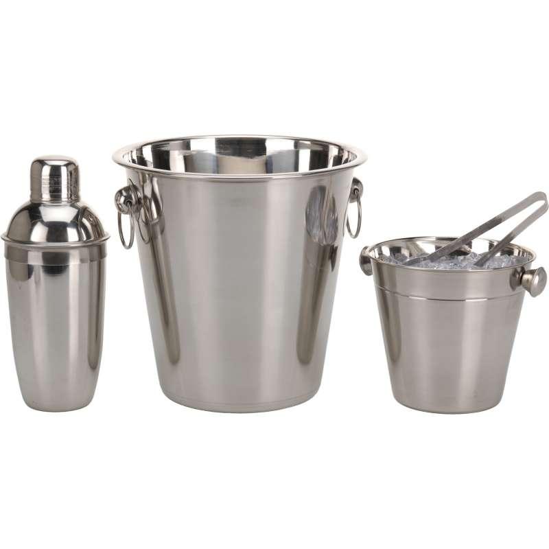 Set Cocktail Mixer 4 Teile Barset Barzubehör Shaker Eiseimer Eiskühler Edelstahl