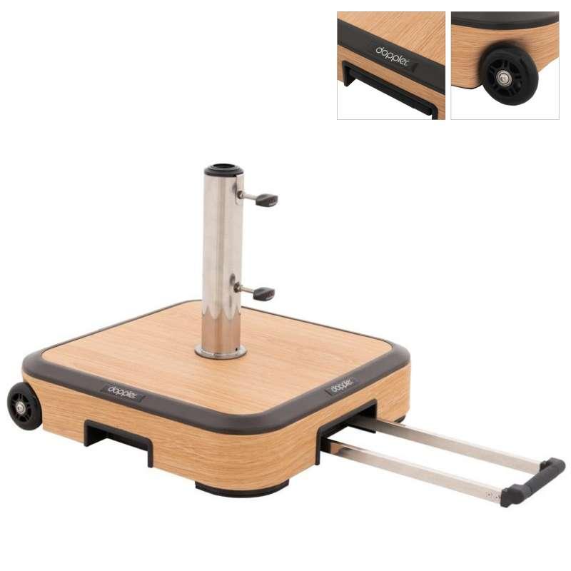Doppler Alu-Wood Trolley Sockel Rollsockel 50 kg Holzoptik 56 x 56 cm 85897AWGT