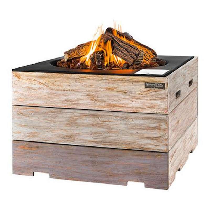 Happy Cocooning Mania Feuertisch 19,5 kW quadratisch groß 76x76x46 cm Teakholz Nice&Nasty/schwarz